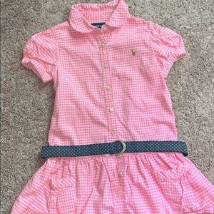 Ralph Lauren pink kids dress with a belt.
